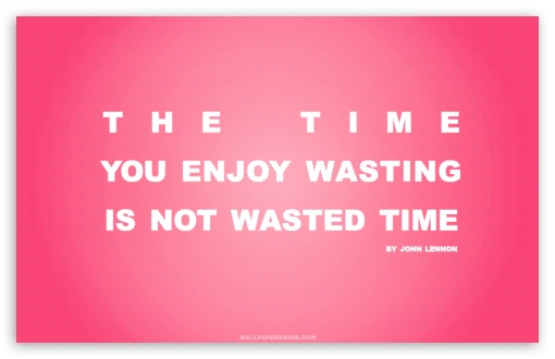 time_you_enjoy_wasting_is_not_wasted_time_quote_retro_pink