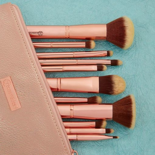 set-co-bh-cosmetics-metal-rose-11-piece-brush-set-with-cosmetic-bag